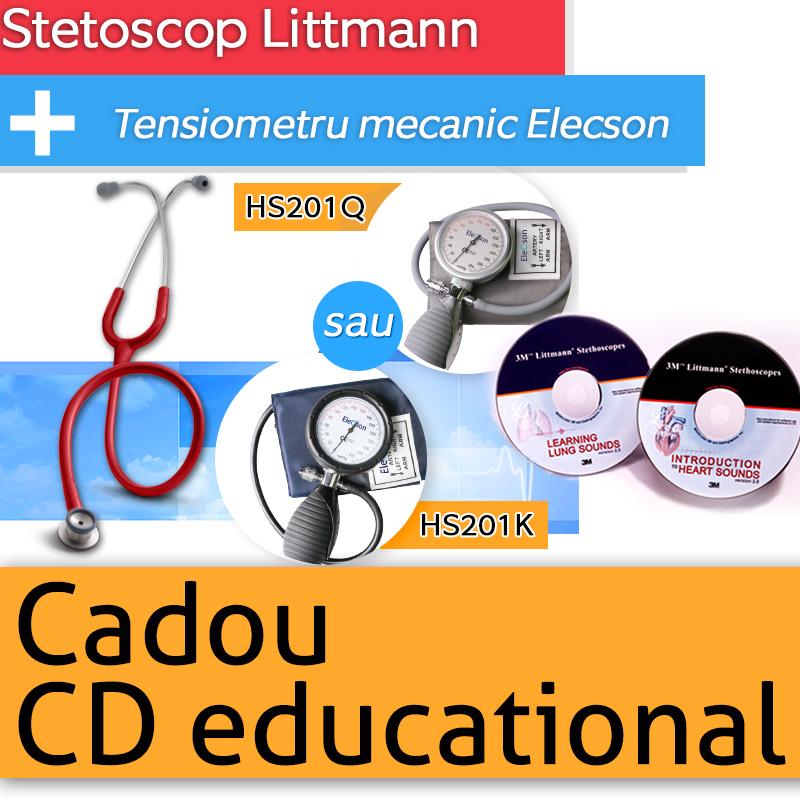 Stetoscop 3M Littmann Classic II Infant + Tensiometru mecanic Elecson