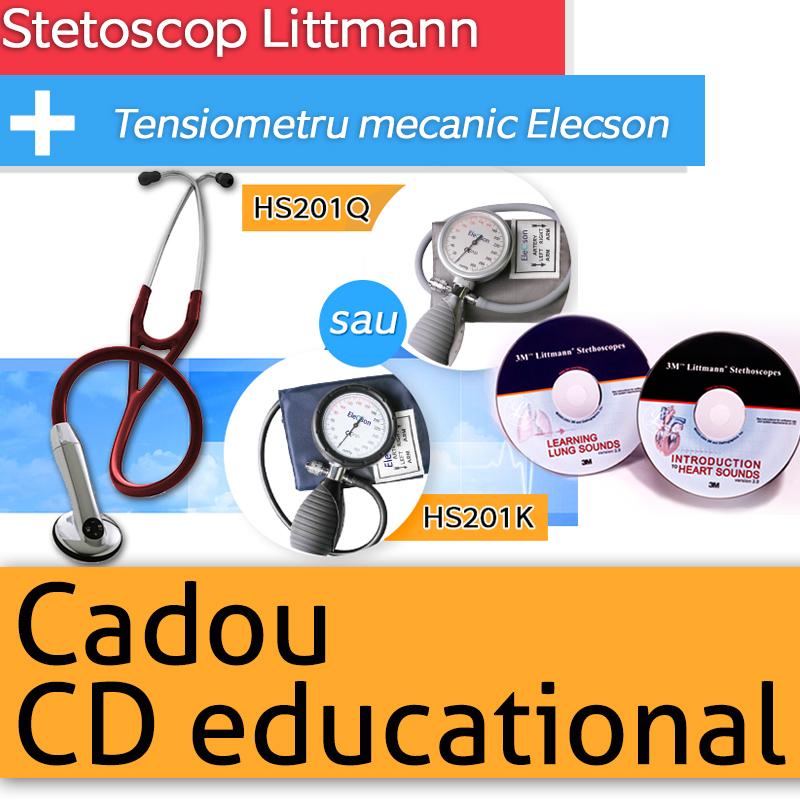 Stetoscop 3M Littmann Electronic 3000 + Tensiometru mecanic Elecson