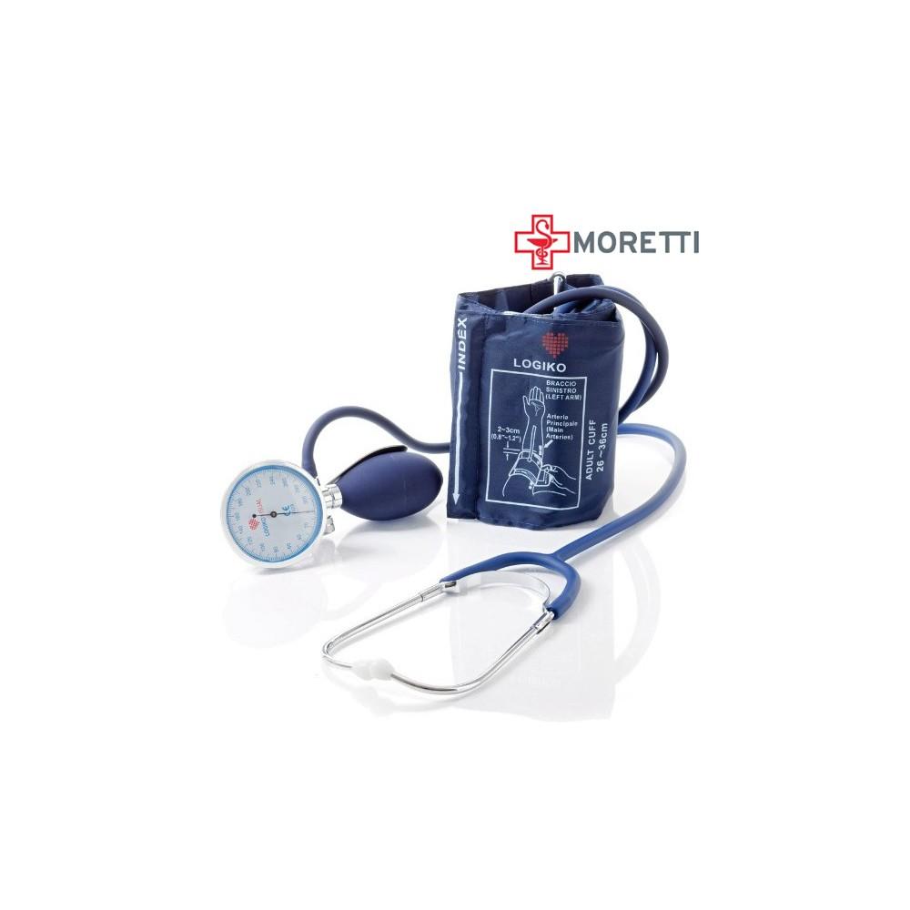 MDM346 - Tensiometru mecanic MORETTI cu manometru la para Cromat si stetoscop