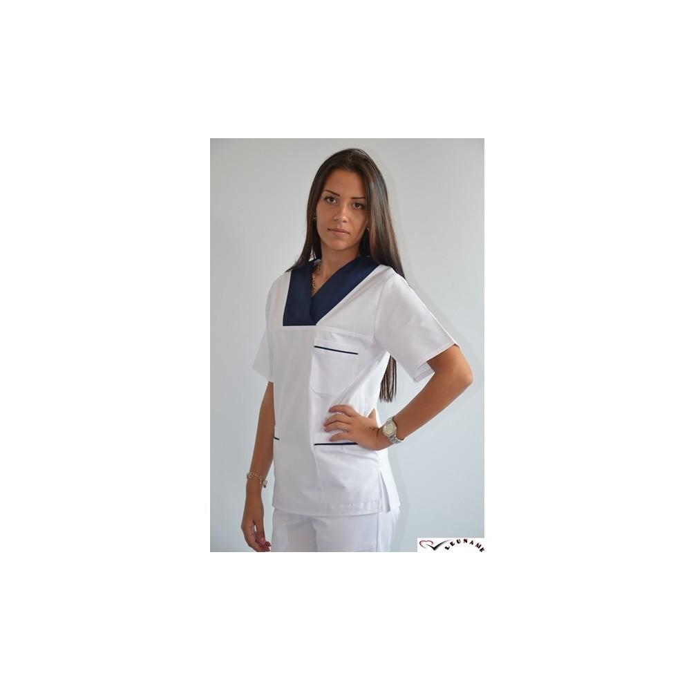 Bluza Unisex alba cu contrast la gat si buzunare - CM09
