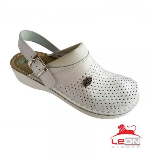 LEON V202 - Saboti medicali albi cu bareta