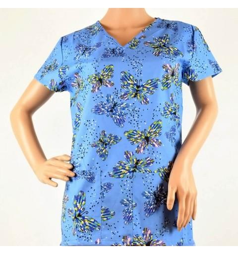 Bluza medicala imprimata, cu guler in V - Lotus