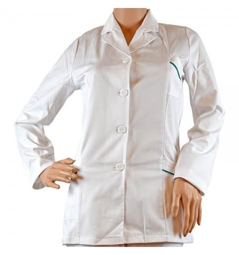Jacheta alba femei cu paspol colorat, maneca scurta/lunga - CF02