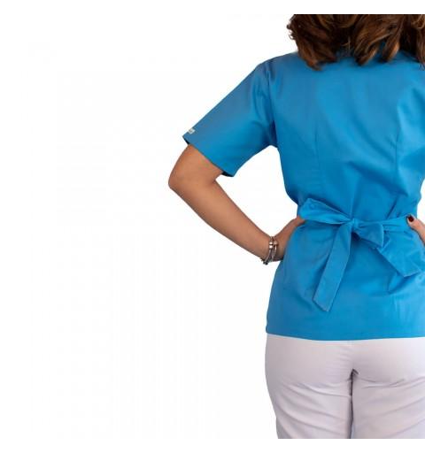 Bluza kimono cu maneca scurta, Lotus 2, albastru deschis